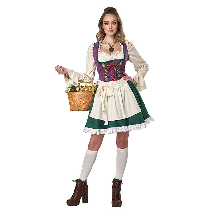 Sexy False Two Pieces Flared Long Sleeves Dress Halloween Cosplay Maid Fancy Costume N20989