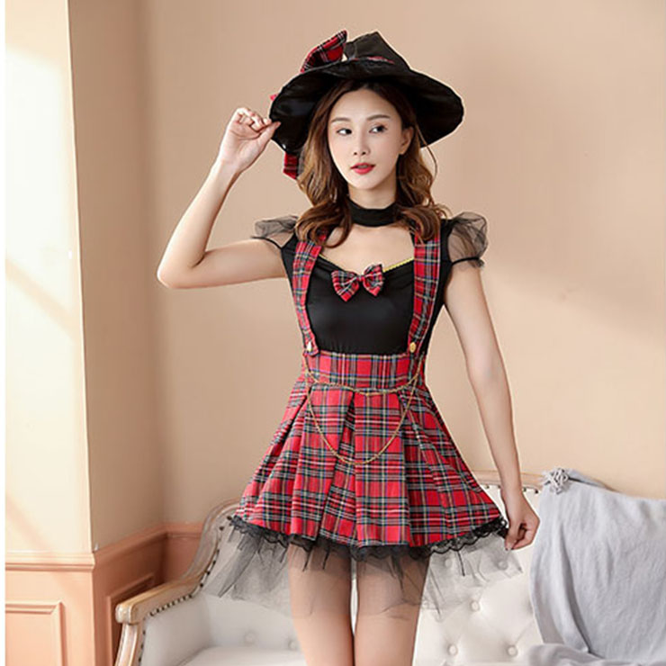 Sexy Female Magician Fake-two Pieces Checkered Dress Adult Cosplay Costume N20855
