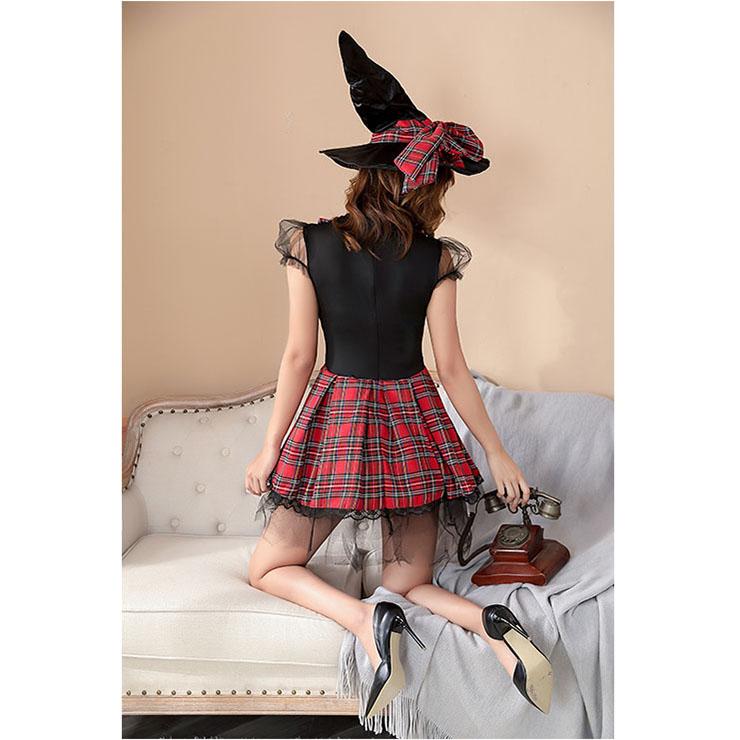 Female Magician Costume, Female Magician Set, Sexy Female Magician Costume, Female Magician Cosplay Costume, Sexy Plaid Skirt Set Costume, Adult Female Magician Role Play Costume, Female Magician Skirt Set, #N20855