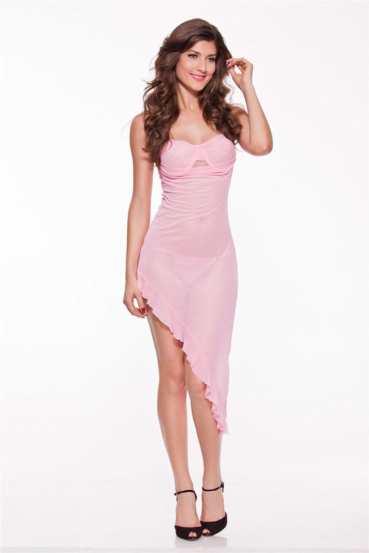 Sexy Flirty Pink Ruffle Trim Night Dress N11243