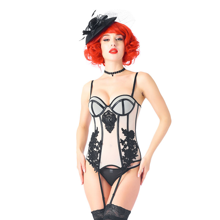 Sexy Floral Embroidery Spaghetti Straps Plastic Bone Stretchy Lingerie Bustier Corset N20543