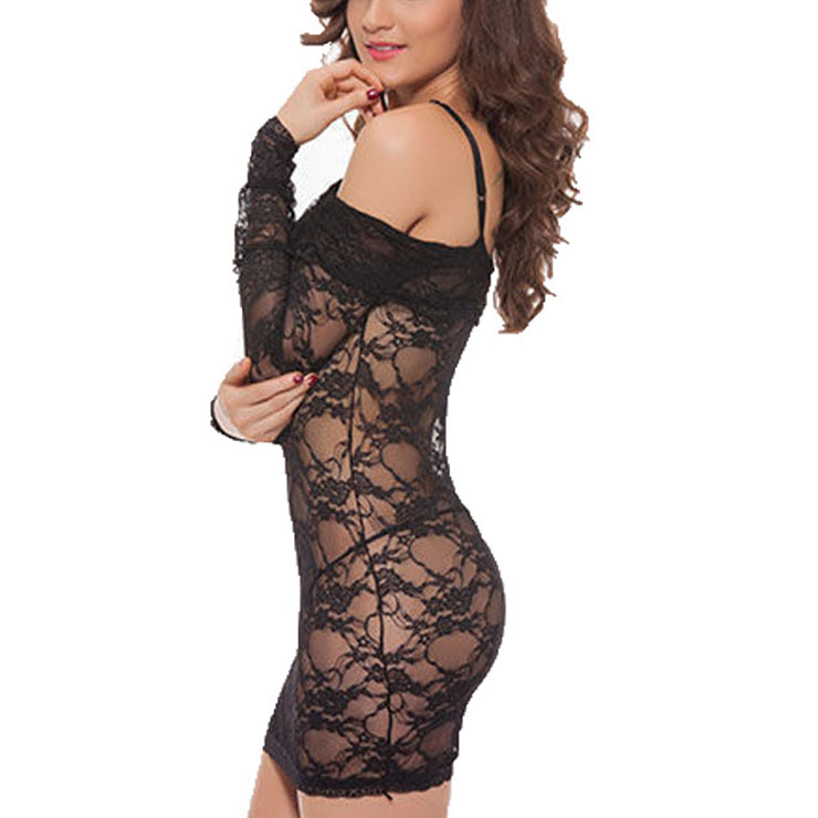 Sexy Black See-through Floral Lace Off Shoulder One-piece Nightdress Lingerie With Thong N21291