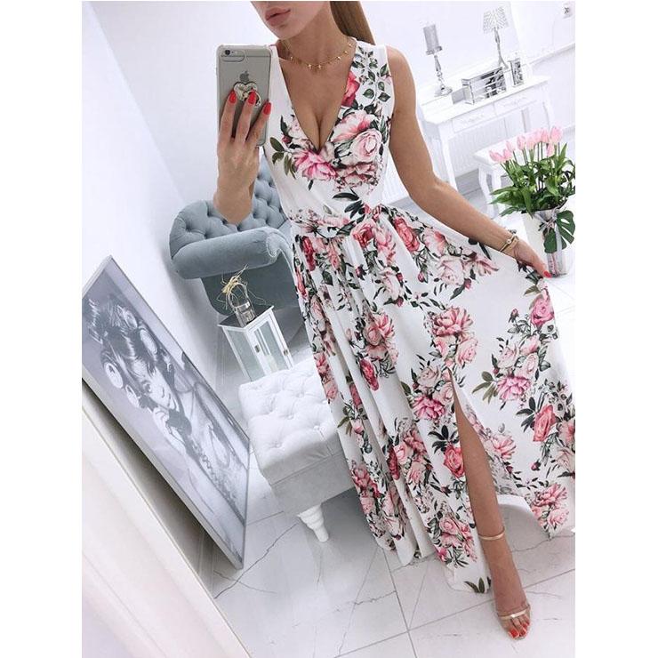 Women's Sexy White Deep V Neck Sleeveless Floral Print Beach High Waist Split Maxi Dress N21010