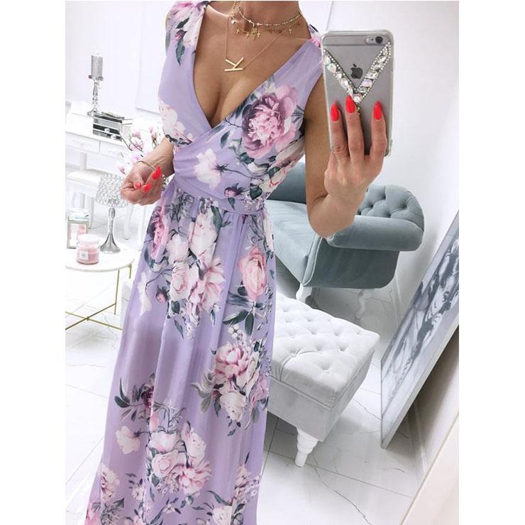 Women's Sexy Purple Deep V Neck Sleeveless Floral Print Beach High Waist Split Maxi Dress N21012