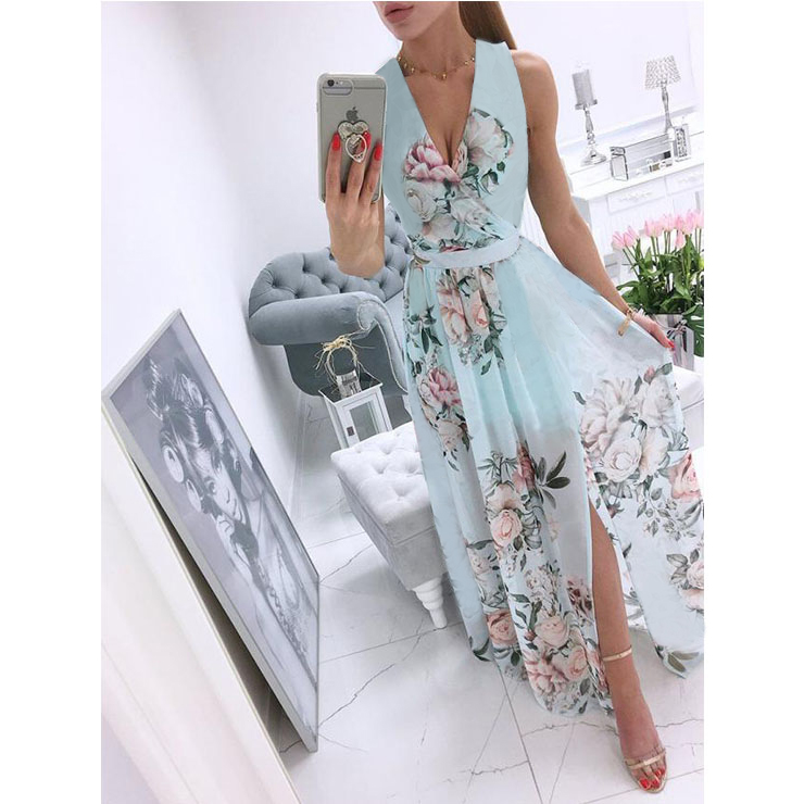 Women's Sexy Blue Deep V Neck Sleeveless Floral Print Beach High Waist Split Maxi Dress N21013