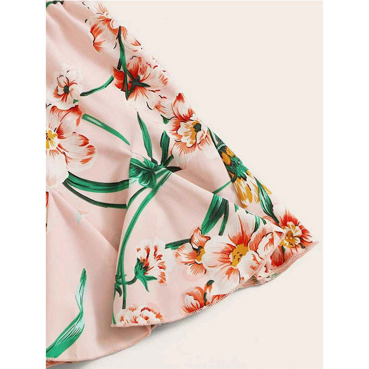 Floral Print Casual Mini Skirt, Fashion Short Skirt, Cute Floral Print Skirt, Mini One-step Skirt With Drawstring, Girl