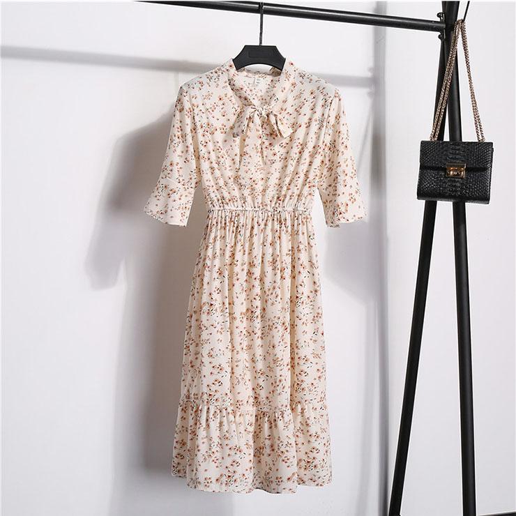 Sexy Floral Print Bow Neckline Short Sleeve Elastic Waist Ruffle Summer Midi Dress N21054