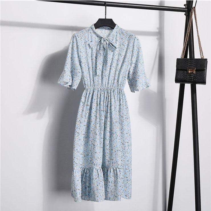Sexy Floral Print Bow Neckline Short Sleeve Elastic Waist Ruffle Summer Midi Dress N21055