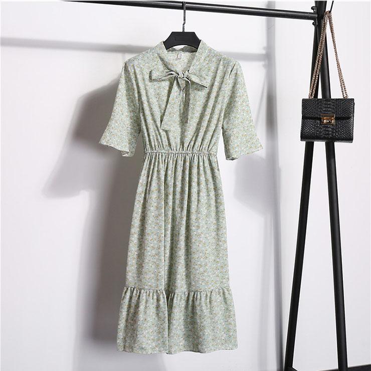 Sexy Floral Print Bow Neckline Short Sleeve Elastic Waist Ruffle Summer Midi Dress N21056
