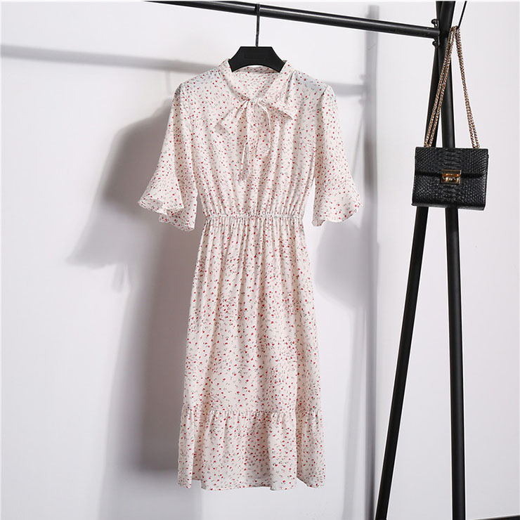 Sexy Floral Print Bow Neckline Short Sleeve Elastic Waist Ruffle Summer Midi Dress N21058