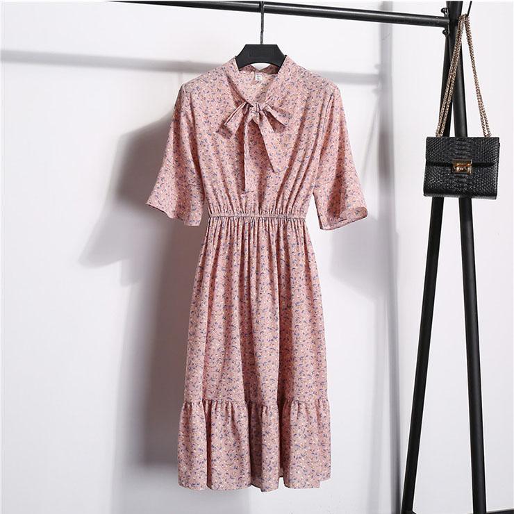 Sexy Floral Print Bow Neckline Short Sleeve Elastic Waist Ruffle Summer Midi Dress N21059