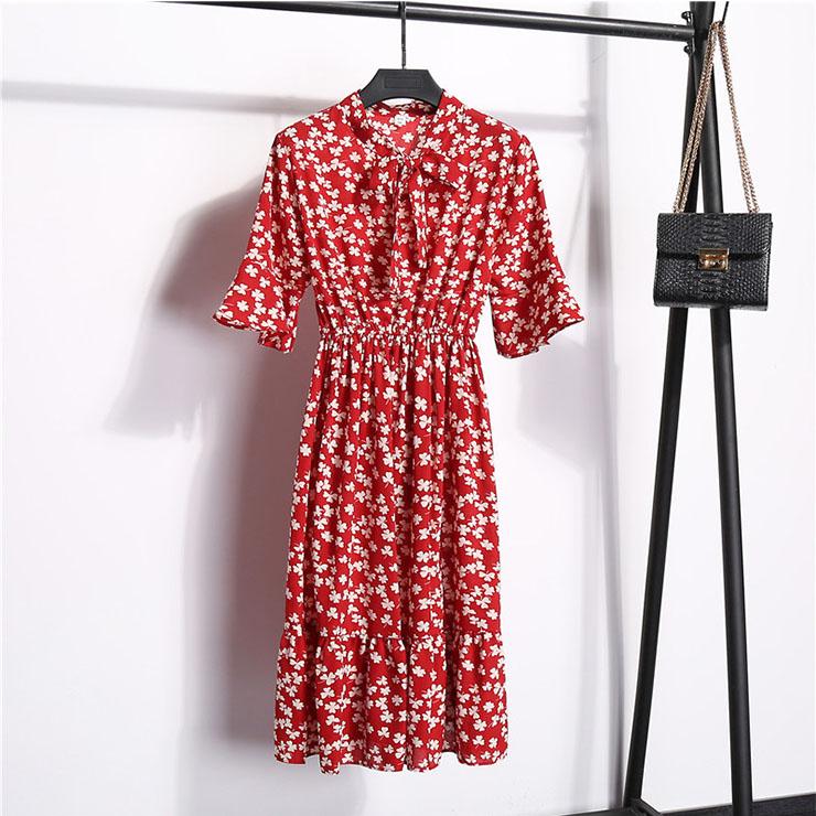 Sexy Floral Print Bow Neckline Short Sleeve Elastic Waist Ruffle Summer Midi Dress N21061