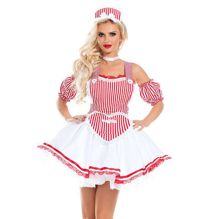 Sexy French Maid Dress with Wide Straps Adult Halloween Cosplay Costume N18181
