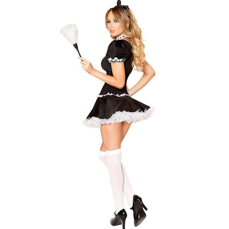 Sexy French Maid Dress Corset And Dress Sets Adult Halloween Cosplay Costume  N18182