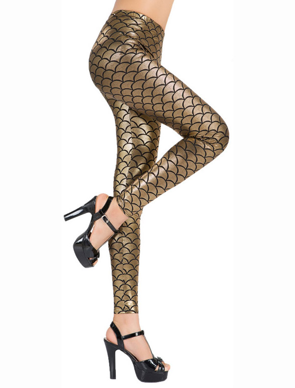 Sexy Gold Fish Scale Pattern Low Waist Leggings L10264