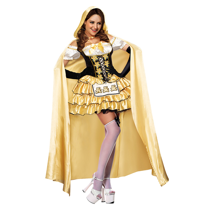 Deluxe Lovely Girl's Gold Black Off Shoulder Goldilocks Tiered Dress Adult Costume N11055