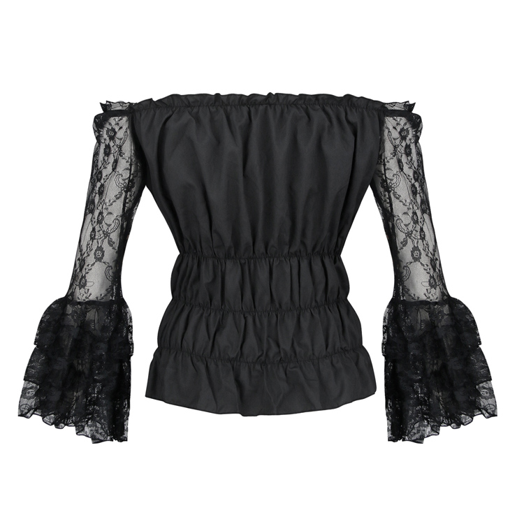 Sexy Gothic See-through Floral Lace Blouse Top, Sexy Crop Top, Sexy Clubwear Tummy Top, Sexy Cutoff Shirt Clubwear, Long Sleeve Crop Top, Casual Half Shirt, Sexy Corset Costume Top, #N20023