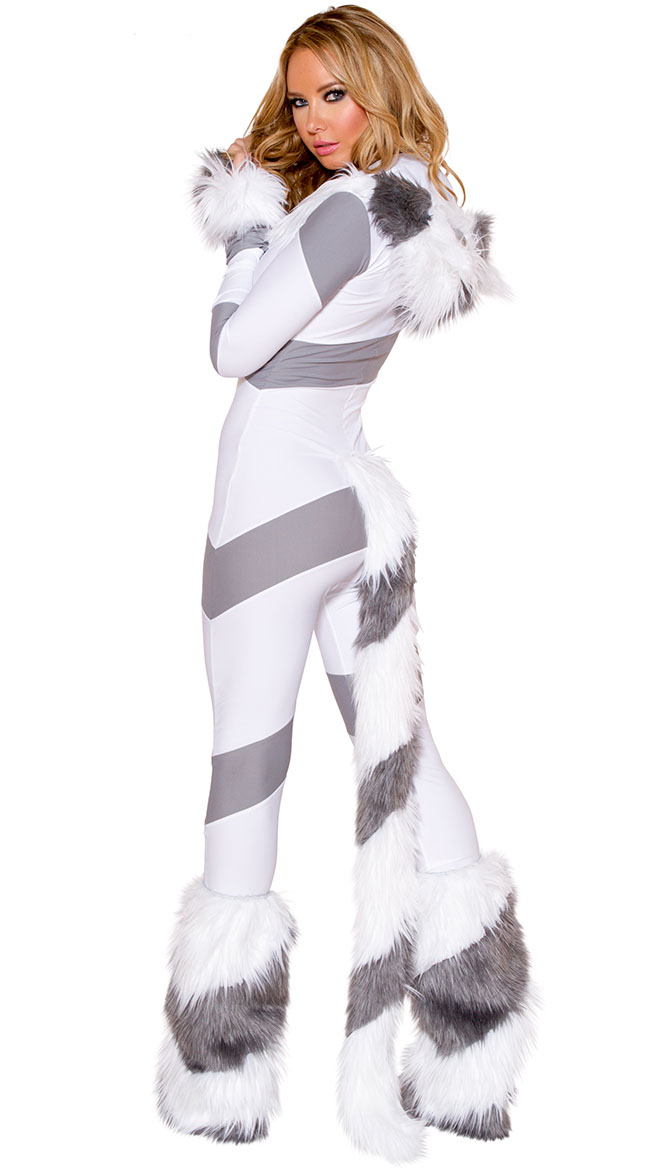 4f4562498d41 Sexy Animal Costume, Hot Sale Gray and White Cat Costume, Kitty Cat Hooded  Catsuit