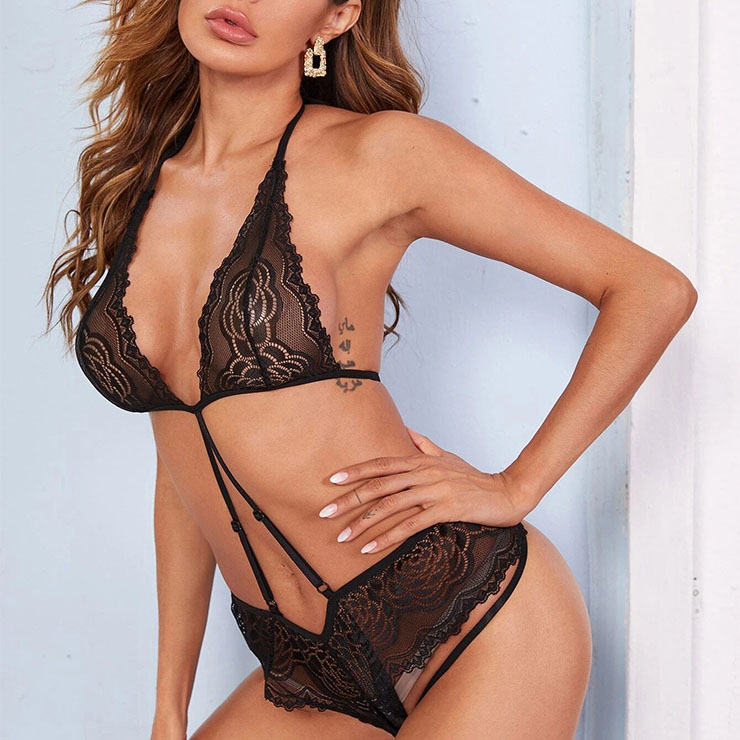 One-piece Teddy Lingerie, Sexy Black Floral Lace Lingerie Set, Fashion Strappy Badysuit Set, Sexy Cut Out Bra Set, Sexy Strappy Thong Set,Halter Strappy Low Cut Lingerie, #N20843