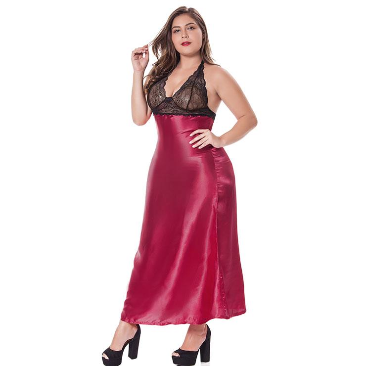 Sexy Lace Long Gown, Cheap Wine-Red Satin Long Dress, Women