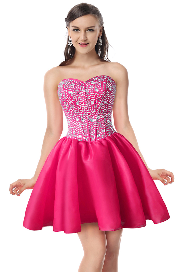 2017 Sexy Hot Pink A Line Sweetheart Neck Crystal Short