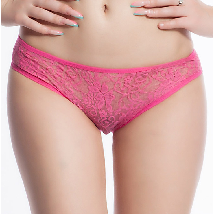 Sexy Rose-red Open Crotch Floral Lace Plus Size Panty PT17526
