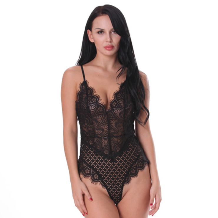Sexy Clubwear Stripper Striptease Bodysuit for Women, Sexy See-through Floral Lace Lingerie, Cheap Romper Lingerie for Women, Sexy Valentines Lingerie, Sexy Stretchy Bodysuit Lingerie, Sexy Sheer Lace Teddies Lingerie, #N18838