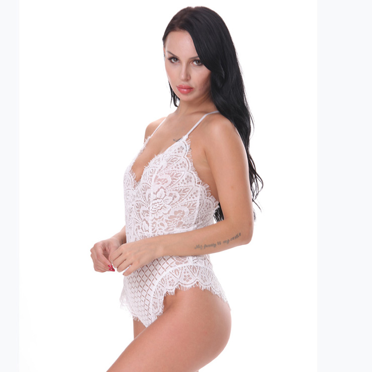 Sexy Clubwear Stripper Striptease Bodysuit for Women, Sexy See-through Floral Lace Lingerie, Cheap Romper Lingerie for Women, Sexy Valentines Lingerie, Sexy Stretchy Bodysuit Lingerie, Sexy Sheer Lace Teddies Lingerie, #N18839