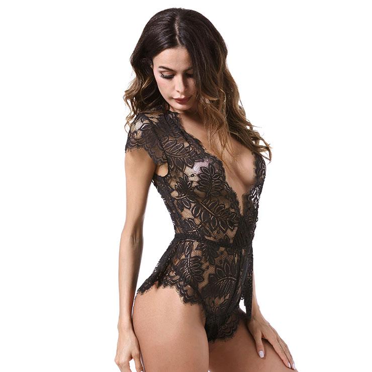 Sexy Clubwear Stripper Striptease Bodysuit for Women, Sexy See-through Floral Lace Lingerie, Cheap Romper Lingerie for Women, Sexy Valentines Lingerie, Sexy Stretchy Bodysuit Lingerie, Sexy Sheer Lace Teddies Lingerie, #N18840
