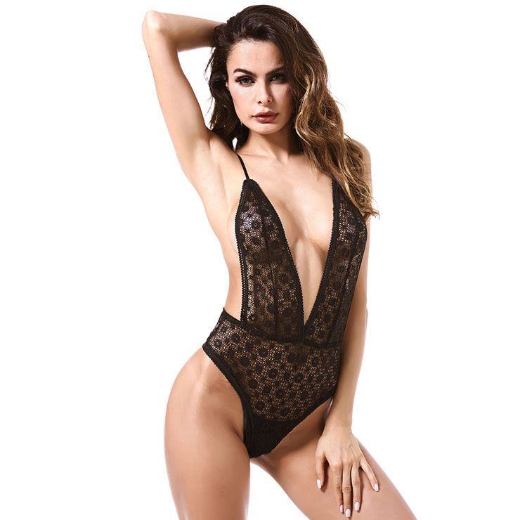 Sexy Clubwear Stripper Striptease Bodysuit for Women, Sexy See-through Floral Lace Lingerie, Cheap Romper Lingerie for Women, Sexy Valentines Lingerie, Sexy Stretchy Bodysuit Lingerie, Sexy Sheer Lace Teddies Lingerie, #N18841
