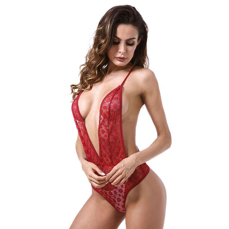 Sexy Clubwear Stripper Striptease Bodysuit for Women, Sexy See-through Floral Lace Lingerie, Cheap Romper Lingerie for Women, Sexy Valentines Lingerie, Sexy Stretchy Bodysuit Lingerie, Sexy Sheer Lace Teddies Lingerie, #N18842