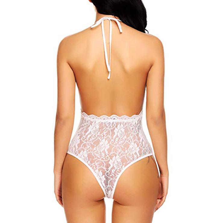 Sexy Clubwear Stripper Striptease Bodysuit for Women, Sexy See-through Floral Lace Lingerie, Cheap Romper Lingerie for Women, Sexy Valentines Lingerie, Sexy Stretchy Bodysuit Lingerie, Sexy Sheer Lace Teddies Lingerie, #N18931