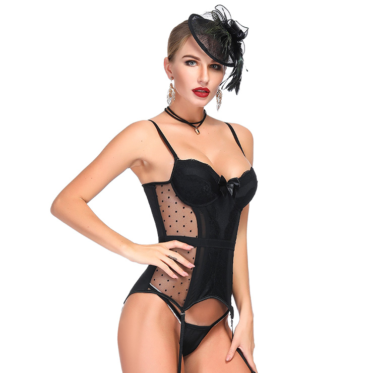 22e7e21563b Charming Black Sheer Mesh Floral Lace Spaghetti Straps Plastic Bone Chemise Bustier  Corset N18712