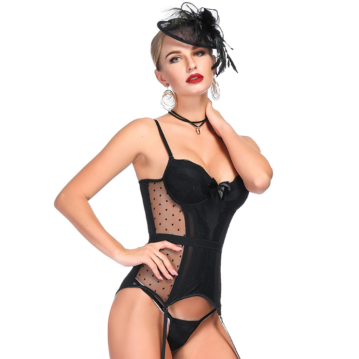 3933385e28 Charming Black Sheer Mesh Floral Lace Spaghetti Straps Plastic Bone Chemise  Bustier Corset N18712