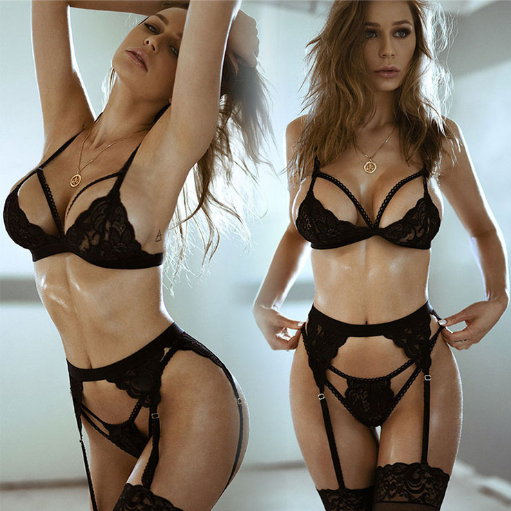 Exotic See-through Lace Bra and Thong Garters Spaghetti Straps Strappy Lingerie Set N21426