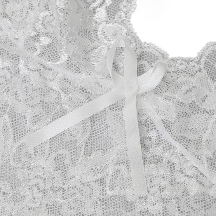 Floral Lace Lingerie Set, Sexy White Lingerie Set, Cheap Fashion Lingerie Set, Valentine