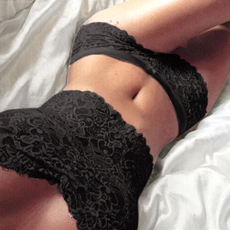 Sexy Black Floral Lace Lingerie Set Two Piece Crop Top and Panty N17614