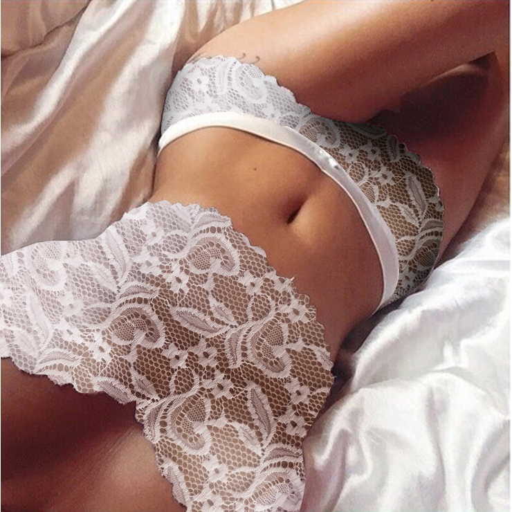 Sexy White Floral Lace Lingerie Set Two Piece Crop Top and Panty N17615