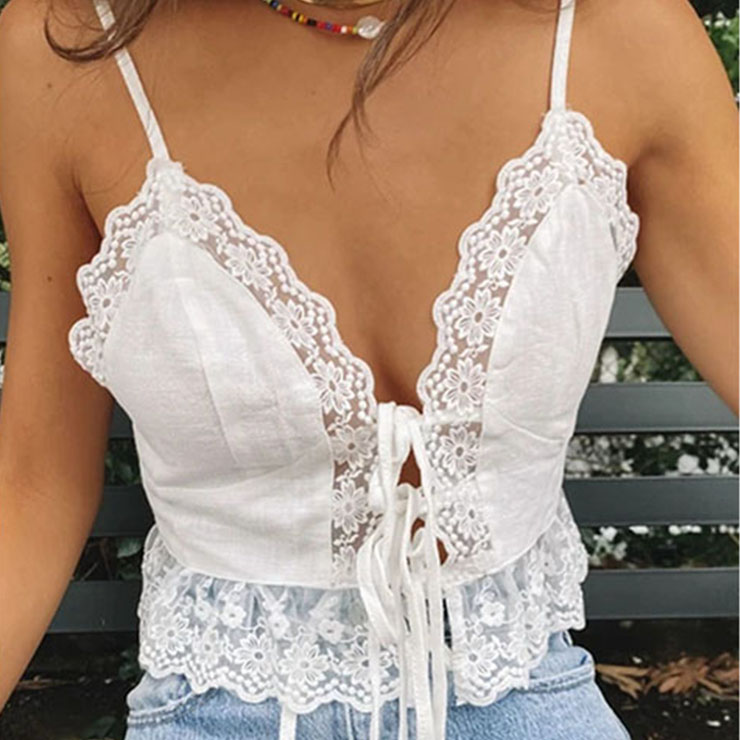 Sexy White Spaghetti Straps Deep V Neck Lace-up Camisoles Lace Stitching Crop Top N21115