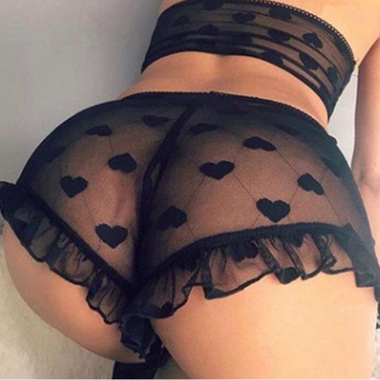 Love Dots Lace Lingerie Set, Sexy Black Lingerie Set, Cheap Fashion Lingerie Set, Valentine