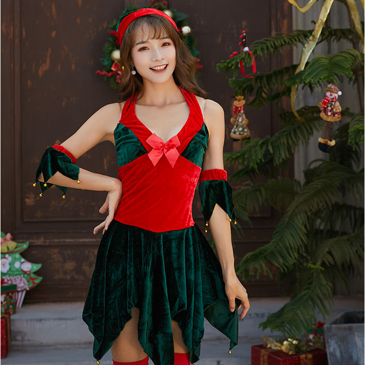 4pcs Sexy Red And Green Halter Deep V-neck Backless Leaf Cutting Christmas Costume XT9883
