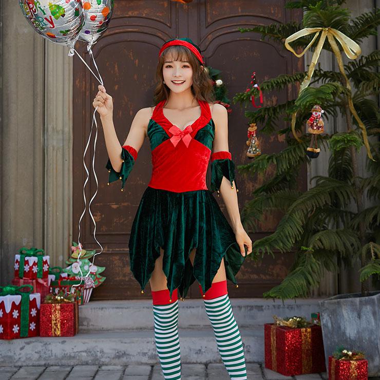 Green Leaf Cutting Dress, Sexy Halter Deep-v Backless Christmas Costume, Comfortable Sleeveless Velvet Dress, Christmas Dress,Christmas Costume for Womem, #XT9883