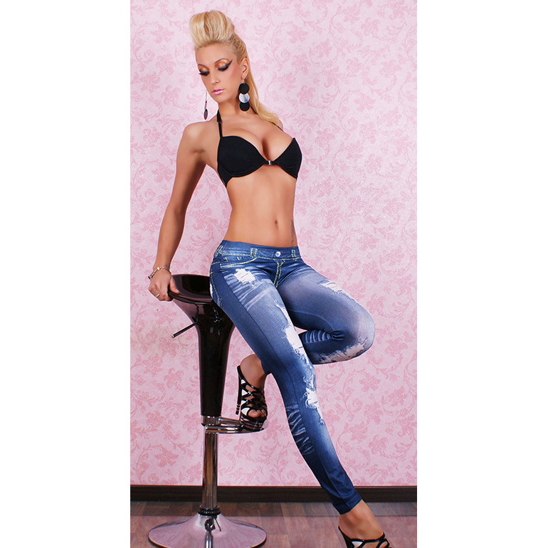 Women's Blue Seamless Leggings Printed Imitation Ripped Jeans Leggings L5219