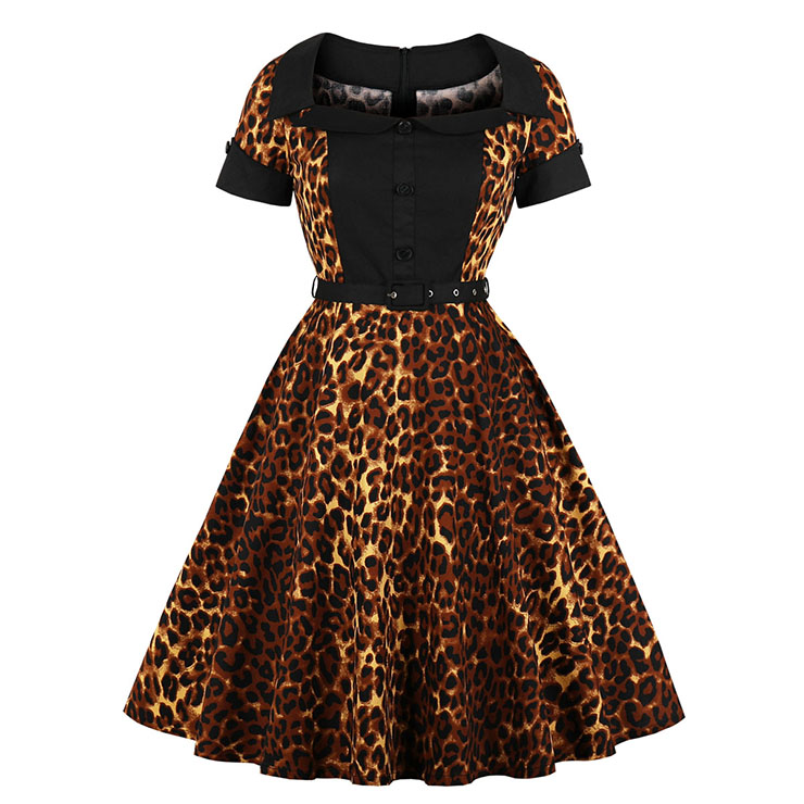 Sexy Leopard Print Turn Down Collar Short Sleeves High Waist Midi Swing Dress with Belt N18341