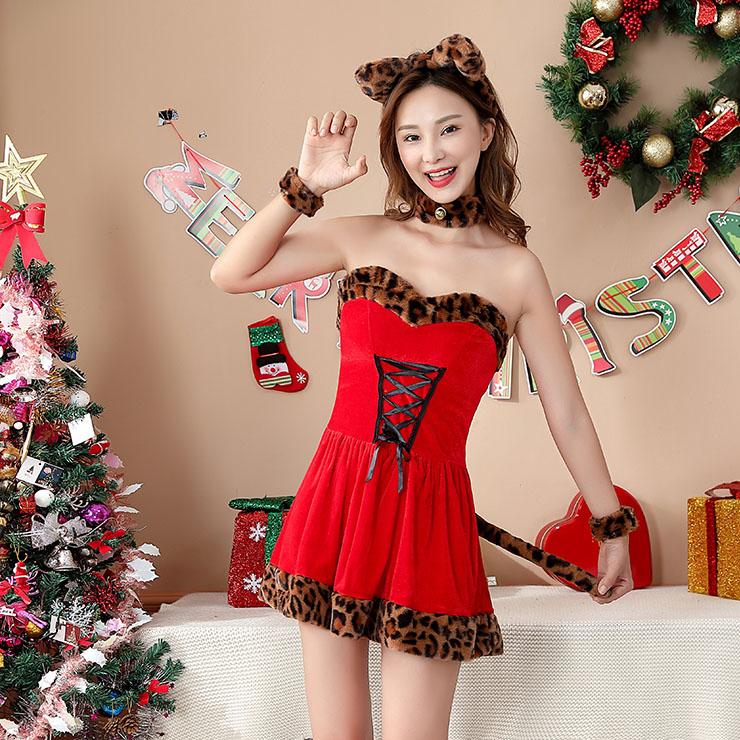 5pcs Women's Leopard Sexy Red Velvet Off-shoulder Mini Dress Christmas Costume XT20859