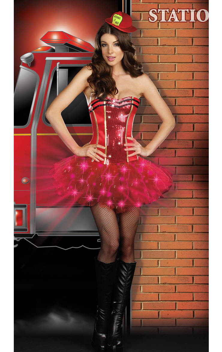 Sexy Light Up Firefighter, Too Hot For You Costume, Womens Light Up Fire Fighter Costume, #N4287
