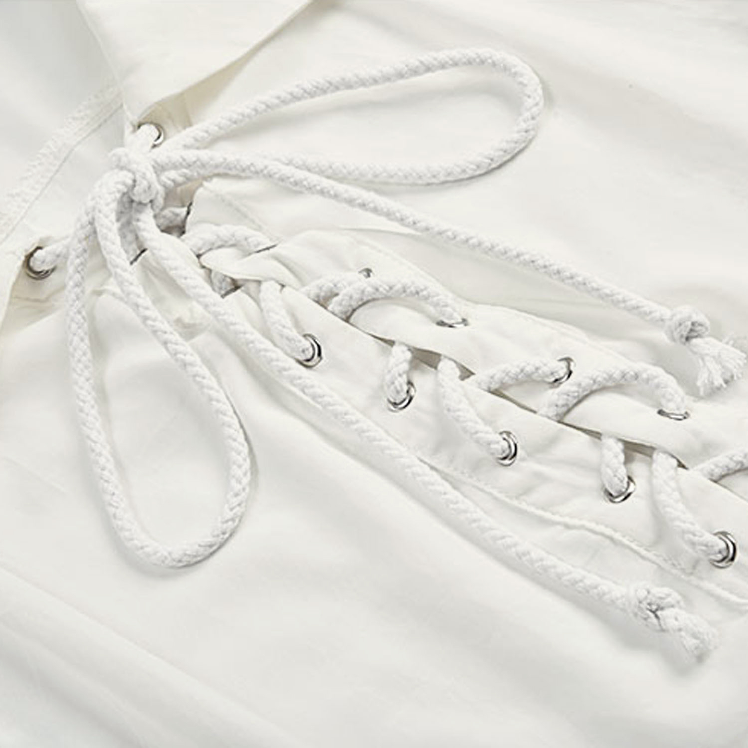 Sexy White Lapel Lace Up Shirt, Lace Up Blouse, Long Sleeve Ruffle Cuff Blouse Tops,Men