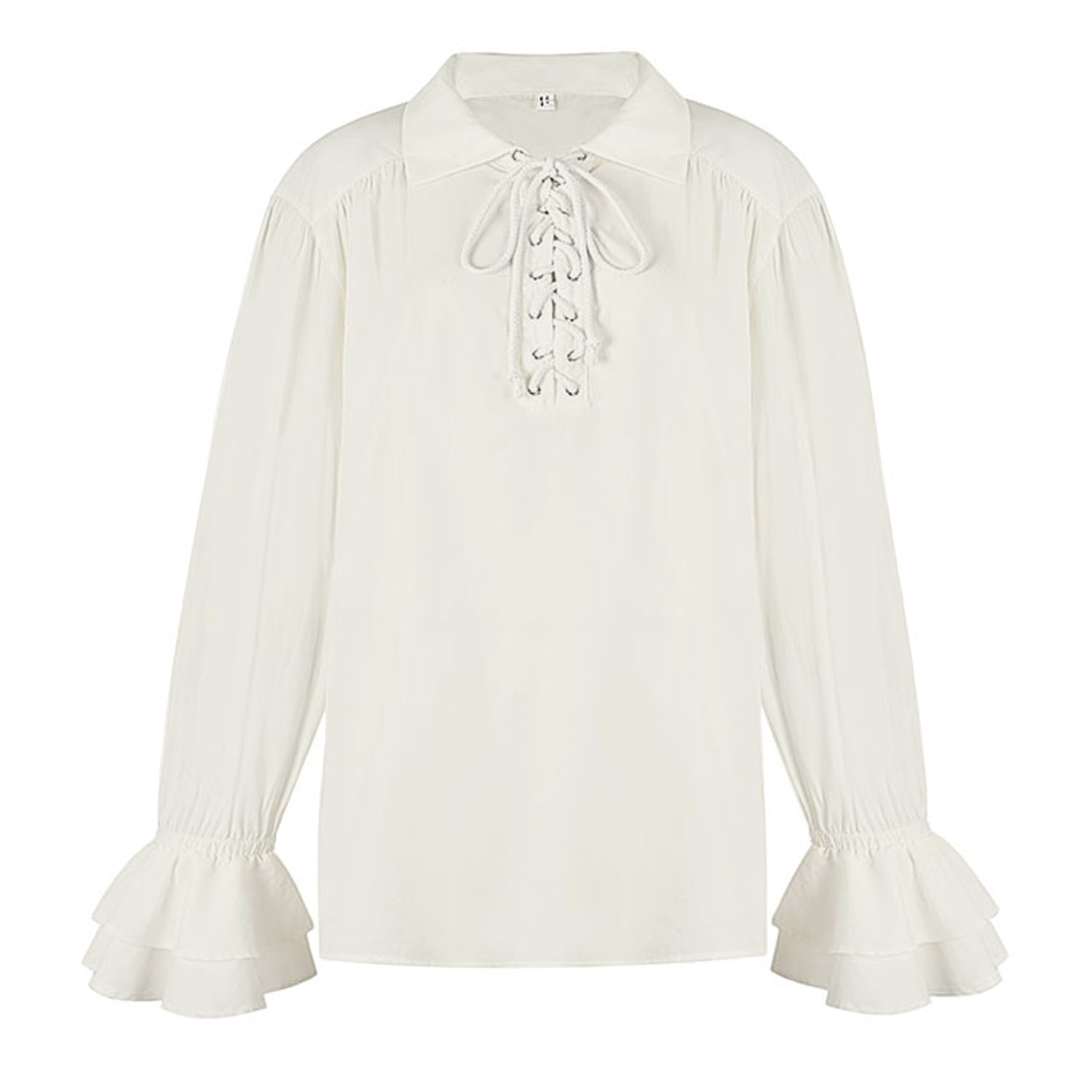 Men's Fashion White Lapel Lace Up Ruffle Flared Long Sleeve Pirate Shirt Blouse Tops N20548