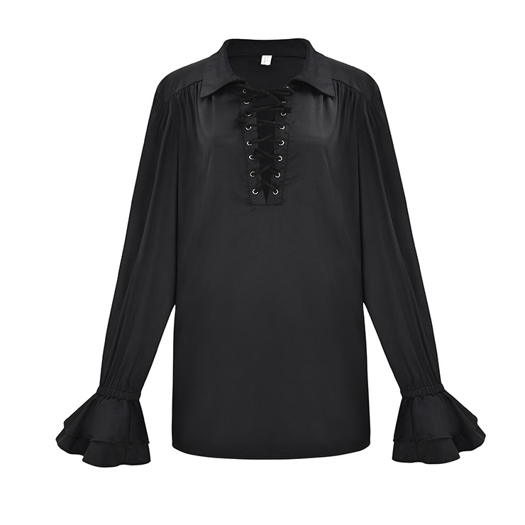 Men's Fashion Black Lapel Lace Up Long Sleeve Ruffle Cuff Pirate Shirt Blouse Tops N20549