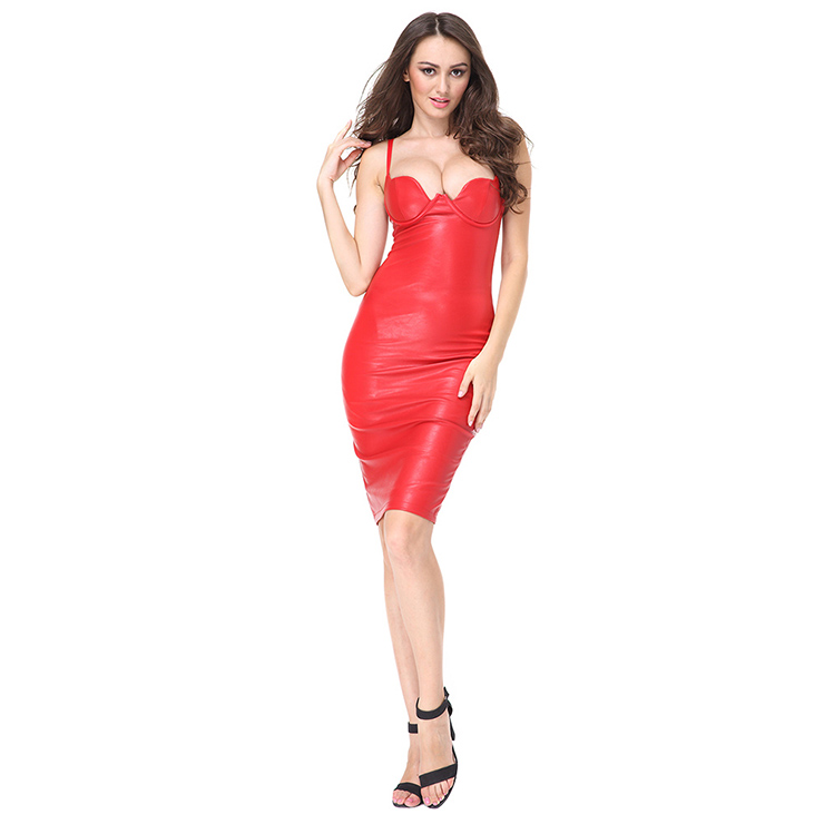 Club Dress For Women, Sexy Leather Dresses For Women, Spaghetti Strap Backless Dresses, Sexy Strap Sleeveless Bodycon Dress, Faux Leather Midi Dress, Sexy Party Dress, #N15126